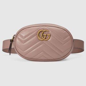 Gucci GG marmont metalasse belt bag dusty pink 85